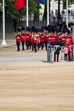 The Major General's Review 2011: Drum Major Scott Fitzgerald, Coldstream Guards, leading the Band of the Coldstream Guards down Horse Guards Road towards the parade ground.. Horse Guards Parade, Westminster, London SW1, Greater London, United Kingdom, on 28 May 2011 at 10:23, image #34