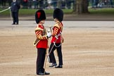The Major General's Review 2011: Two Drum Majors of the Coldstream Guards. In front Drum Major Tony Taylor, No. 7 Company Coldstream Guards, behind him Drum Major Scott Fitzgerald, Coldstream Guards.. Horse Guards Parade, Westminster, London SW1, Greater London, United Kingdom, on 28 May 2011 at 10:26, image #38