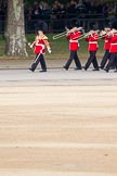 The Major General's Review 2011: Drum Major Stephen Staite, Grenadier Guards, leading the Band of the Grenadier Guards on Horse Guards Road towards the parade ground.. Horse Guards Parade, Westminster, London SW1, Greater London, United Kingdom, on 28 May 2011 at 10:26, image #40