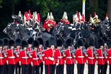 The Major General's Review 2011: The Mounted Bands of the Household Cavalry getting into position at the St. James's Park side of the parade ground.. Horse Guards Parade, Westminster, London SW1, Greater London, United Kingdom, on 28 May 2011 at 11:00, image #107