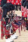 The Major General's Review 2011: Pipers from the Band of the Scots Guards. In front, Pipe Major Brian Heriot, Scots Guards.. Horse Guards Parade, Westminster, London SW1, Greater London, United Kingdom, on 28 May 2011 at 11:09, image #138