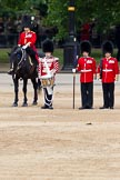 The Major General's Review 2011: The Lone Drummer, Lance Corporal Gordon Prescott, about to leave the line. On the left the Major of the parade, Major B P N Ramsay, Welsh Guards, on the right of the Keeper of the Ground Company Sergeant Major B J Robertson.. Horse Guards Parade, Westminster, London SW1, Greater London, United Kingdom, on 28 May 2011 at 11:14, image #148