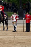 The Major General's Review 2011: The Lone Drummer, Lance Corporal Gordon Prescott, about to leave the line. On the left the Major of the parade, Major B P N Ramsay, Welsh Guards, on the right the Keeper of the Ground for No. 1 Guard.. Horse Guards Parade, Westminster, London SW1, Greater London, United Kingdom, on 28 May 2011 at 11:15, image #149
