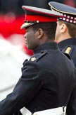The Major General's Review 2011: Close-up of Major Twumasi-Ankrah, Blues and Royals, riding in place of the Princess Royal at the rehearsal.. Horse Guards Parade, Westminster, London SW1, Greater London, United Kingdom, on 28 May 2011 at 11:38, image #212