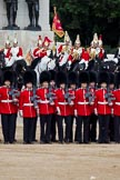 The Major General's Review 2011: Standard Party of The Life Guards formed up in front of the Guards Memorial. F Company Scots Guards manoeuvring in place.. Horse Guards Parade, Westminster, London SW1, Greater London, United Kingdom, on 28 May 2011 at 12:02, image #266