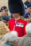 The Major General's Review 2011: WO1 David Lochrie, Coldstream Guards, after the rehearsal, with members of the Army Cadet Force.. Horse Guards Parade, Westminster, London SW1, Greater London, United Kingdom, on 28 May 2011 at 12:18, image #297
