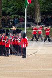The Major General's Review 2011: Drum Major Alan Harvey, Irish Guards, leading the Band of the Scots Guards onto Horse Guards Parade. In the background spectators watching from St. James's Park. Image #51, 28 May 2011 10:30 Horse Guards Parade, London, UK
