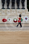 The Major General's Review 2011: Drum Major Alan Harvey, Irish Guards, marching past the Guards Memorial whilst leading the Band of the Scots Guards onto Horse Guards Parade. Image #52, 28 May 2011 10:30 Horse Guards Parade, London, UK