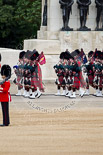 The Major General's Review 2011: The Band of the Scots Guards, here the pipers, marching past the Guards Memorial on the way to Horse Guards Parade. Image #53, 28 May 2011 10:31 Horse Guards Parade, London, UK