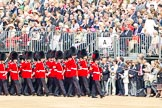 Trooping the Colour 2011: No. 6 Guard, No. 7 Company,  Coldstream Guards, is led into their initial position on the parade ground by Company Sergeant Major D J Cox.. Horse Guards Parade, Westminster, London SW1, Greater London, United Kingdom, on 11 June 2011 at 10:26, image #31