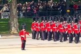 Trooping the Colour 2011: No. 5 Guard, 1st Battalion Welsh Guards, marching onto Horse Guards Parade.. Horse Guards Parade, Westminster, London SW1, Greater London, United Kingdom, on 11 June 2011 at 10:26, image #32