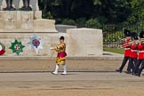 Trooping the Colour 2011: Drum Major Stephen Staite, Grenadier Guards, leading the Band of the Grenadier Guards onto the parade ground, here passing the Guards Memorial.. Horse Guards Parade, Westminster, London SW1, Greater London, United Kingdom, on 11 June 2011 at 10:28, image #38