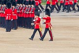 Trooping the Colour 2011: Two Subalterns, a Captain of the Coldstream Guards and a Lieutenant of the Welsh Guards marching past No. 3 Guard, F Company Scots Guards.. Horse Guards Parade, Westminster, London SW1, Greater London, United Kingdom, on 11 June 2011 at 10:30, image #43