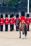 Trooping the Colour 2011: The Field Officer in Brigade Waiting, Lieutenant Colonel Lincoln P M Jopp, in front of No. 2 Guard, B Company Scots Guards.. Horse Guards Parade, Westminster, London SW1, Greater London, United Kingdom, on 11 June 2011 at 10:42, image #72