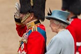 Trooping the Colour 2011: HRH Prince Philip, The Duke of Edinburg, with HM The Queen on the saluting stand, watching the parade.. Horse Guards Parade, Westminster, London SW1, Greater London, United Kingdom, on 11 June 2011 at 11:37, image #239