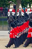 Trooping the Colour 2011: No. 1 Guard, the Escort to the Colour, during the March Past. In the background, The Life Guards from the Household Cavalry.. Horse Guards Parade, Westminster, London SW1, Greater London, United Kingdom, on 11 June 2011 at 11:43, image #275