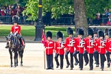 Trooping the Colour 2011: The Major of the Parade, Major Benedict Peter Norman Ramsay, Welsh Guards, on horseback, next to the  No. 1 Guard. the Escort to the Colour.. Horse Guards Parade, Westminster, London SW1, Greater London, United Kingdom, on 11 June 2011 at 11:51, image #307