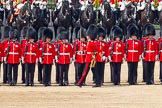Trooping the Colour 2011: No. 2 Guard, B Company Scots Guards, during the March Past in slow time. In front, marching past the line of guardsmen, Lieutenant S E Kershaw.. Horse Guards Parade, Westminster, London SW1, Greater London, United Kingdom, on 11 June 2011 at 11:52, image #308