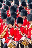 Trooping the Colour 2011: Drummers of the Band of the Grenadier Guards.. Horse Guards Parade, Westminster, London SW1, Greater London, United Kingdom, on 11 June 2011 at 11:53, image #311
