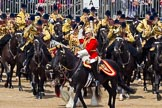Trooping the Colour 2011: The Mounted Bands of the Household Cavalry moving onto the parade ground.   In red Major K L Davies, The Life Guards, Director of Music, on his right one of the two kettle drummers.. Horse Guards Parade, Westminster, London SW1, Greater London, United Kingdom, on 11 June 2011 at 11:53, image #316