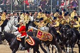 Trooping the Colour 2011: The Mounted Bands of the Household Cavalry moving onto the parade ground.   In red Major K L Davies, The Life Guards, Director of Music, on his right one of the two kettle drummers.. Horse Guards Parade, Westminster, London SW1, Greater London, United Kingdom, on 11 June 2011 at 11:54, image #317