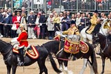 Trooping the Colour 2011: The Mounted Bands of the Household Cavalry moving onto the parade ground.   In red Major K L Davies, The Life Guards, Director of Music, behind him one of the two kettle drummers.. Horse Guards Parade, Westminster, London SW1, Greater London, United Kingdom, on 11 June 2011 at 11:54, image #318