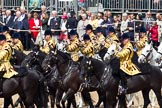 Trooping the Colour 2011: The Mounted Bands of the Household Cavalry playing during the Ride Past.. Horse Guards Parade, Westminster, London SW1, Greater London, United Kingdom, on 11 June 2011 at 11:54, image #320