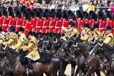 Trooping the Colour 2011: The Mounted Bands of the Household Cavalry playing during the Ride Past.. Horse Guards Parade, Westminster, London SW1, Greater London, United Kingdom, on 11 June 2011 at 11:54, image #323