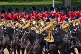 Trooping the Colour 2011: The Mounted Bands of the Household Cavalry playing during the Ride Past.. Horse Guards Parade, Westminster, London SW1, Greater London, United Kingdom, on 11 June 2011 at 11:54, image #325