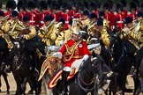 Trooping the Colour 2011: Director of Music,  Major K L Davies, The Life Guards, leading the Mounted Bands of the Household Cavalry . Behind him, one of the two kettle drummers.. Horse Guards Parade, Westminster, London SW1, Greater London, United Kingdom, on 11 June 2011 at 11:54, image #328