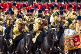 Trooping the Colour 2011: The Mounted Bands of the Household Cavalry playing during the Ride Past.. Horse Guards Parade, Westminster, London SW1, Greater London, United Kingdom, on 11 June 2011 at 11:54, image #330