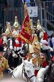 Trooping the Colour 2011: The Standard Bearer and Trumpeter, both from the Life Guards, during the Ride Past, close to the end of the parade.. Horse Guards Parade, Westminster, London SW1, Greater London, United Kingdom, on 11 June 2011 at 11:58, image #363