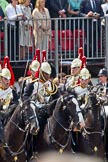 Trooping the Colour 2011: Household Cavalry, here the Blues and Royals, during the Ride Past.. Horse Guards Parade, Westminster, London SW1, Greater London, United Kingdom, on 11 June 2011 at 11:59, image #365