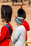 Trooping the Colour 2011: HRH Prince Philip, The Duke of Edinburgh, and HM The Queen standing on the saluting base during the Ride Past.. Horse Guards Parade, Westminster, London SW1, Greater London, United Kingdom, on 11 June 2011 at 12:00, image #367