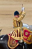 Trooping the Colour 2011: One of the two kettle drummers of the band of the Life Guards, saluting to HM The Queen by crossing his drumsticks.. Horse Guards Parade, Westminster, London SW1, Greater London, United Kingdom, on 11 June 2011 at 12:00, image #371