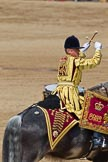Trooping the Colour 2011: One of the two kettle drummers of the band of the Life Guards, saluting to HM The Queen by crossing his drumsticks.. Horse Guards Parade, Westminster, London SW1, Greater London, United Kingdom, on 11 June 2011 at 12:00, image #372