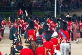 Trooping the Colour 2011: The March Off, the Massed Bands leaving the parade ground, followed by the Royal Procession, leaving Horse Guards Parade towards The Mall.. Horse Guards Parade, Westminster, London SW1, Greater London, United Kingdom, on 11 June 2011 at 12:11, image #422