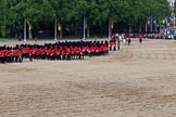 Trooping the Colour 2011: The March Off. Following the Massed Bands and the Royal Procession, the six guard divisions are about to leave the parade ground.. Horse Guards Parade, Westminster, London SW1, Greater London, United Kingdom, on 11 June 2011 at 12:11, image #424