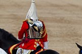 Trooping the Colour 2011: A trooper of The Life Guards  during March Off. The reflection shows Horse Guards Building.. Horse Guards Parade, Westminster, London SW1, Greater London, United Kingdom, on 11 June 2011 at 12:11, image #427
