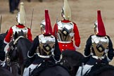 Trooping the Colour 2011: Four troopers of The Life Guards, and four troppers of The Blues and Royals (not all of them visible), leaving Horse Guards Parade towards The Mall at the end of the event.. Horse Guards Parade, Westminster, London SW1, Greater London, United Kingdom, on 11 June 2011 at 12:12, image #430