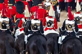 Trooping the Colour 2011: The rear part of the Royal Procession, followed by four troopers of The Life guards, and four troppers of The Blues and Royals, leaving Horse Guards Parade towards The Mall at the end of the event.. Horse Guards Parade, Westminster, London SW1, Greater London, United Kingdom, on 11 June 2011 at 12:12, image #431