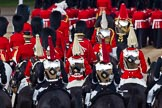 Trooping the Colour 2011: The rear part of the Royal Procession, followed by four troopers of The Life guards, and four troppers of The Blues and Royals, leaving Horse Guards Parade towards The Mall at the end of the event.. Horse Guards Parade, Westminster, London SW1, Greater London, United Kingdom, on 11 June 2011 at 12:12, image #432