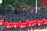 Trooping the Colour 2011: Marching off - No. 5 Guard, 1st Battalion Welsh Guards, followed by No. 6 Guard, No. 7 Company Coldstream Guards, leaving Horse Guards Parade towards The Mall.. Horse Guards Parade, Westminster, London SW1, Greater London, United Kingdom, on 11 June 2011 at 12:12, image #433