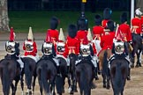 Trooping the Colour 2011: The rear part of the Royal Procession, followed by four troopers of The Life guards, and four troppers of The Blues and Royals, leaving Horse Guards Parade towards The Mall at the end of the event.. Horse Guards Parade, Westminster, London SW1, Greater London, United Kingdom, on 11 June 2011 at 12:13, image #434
