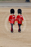 Trooping the Colour 2011: Subaltern and Ensign from the Scots Guards, crossing Horse Guards Parade from the the position of their guard towards Horse Guards Arch. Image #6, 11 June 2011 09:53 Horse Guards Parade, London, UK