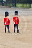 Trooping the Colour 2011: Subaltern and Ensign of No. 4 Guard, Nijmegen Company Grenadier Guards, crossing Horse Guards Parade from the position of No. 4 Guard towards Horse Guards Arch. Image #7, 11 June 2011 09:54 Horse Guards Parade, London, UK