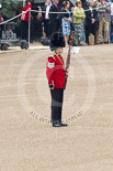 Trooping the Colour 2011: Lance Sergeant Jason Burton, Bassoonist in the Grenadier Guards Band, marking the position, on Horse Guards Parade, for the first of the Drum Majors leading the first band on the parade ground. Image #10, 11 June 2011 10:11 Horse Guards Parade, London, UK