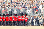 Trooping the Colour 2011: No. 6 Guard, No. 7 Company,  Coldstream Guards, is led into their initial position on the parade ground by Company Sergeant Major D J Cox. Image #31, 11 June 2011 10:26 Horse Guards Parade, London, UK