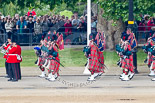 Trooping the Colour 2011: The Band of the Scots Guards, here the Pipers in their Royal Stewart Tartan, marching on Horse Guards Road, before turning onto Horse Guards Parade. Image #48, 11 June 2011 10:30 Horse Guards Parade, London, UK