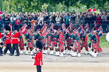 Trooping the Colour 2011: The Band of the Scots Guards, here the pipers in their Royal Stewart Tartan, marching on Horse Guards Road, before turning onto Horse Guards Parade. Image #49, 11 June 2011 10:31 Horse Guards Parade, London, UK